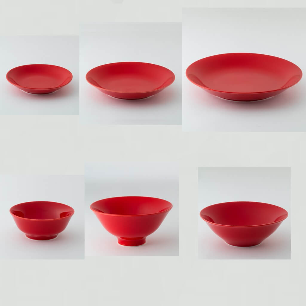 赤紅色の波佐見焼6型セット