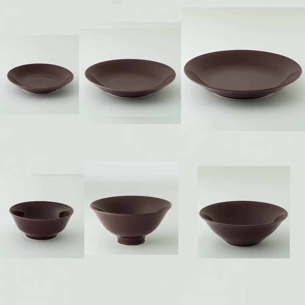 紫鳶色の波佐見焼6型セット